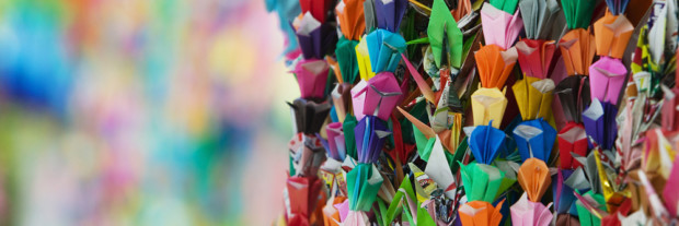 Japan Hiroshima Peace Memorial Park colorful paper cranes close-up